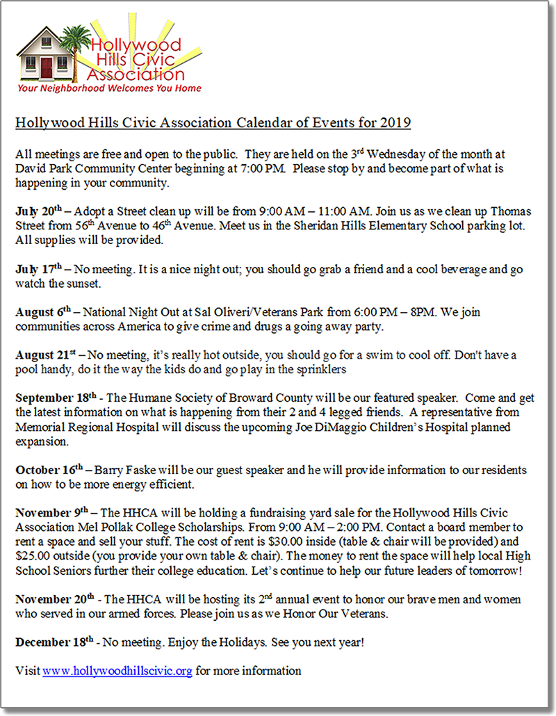 Download your copy of the HHCA Calendar of Events for 2019